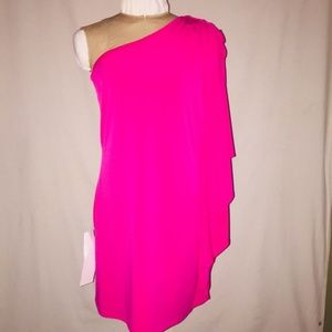 NEW Cache Pink One Shoulder Batwing Dress